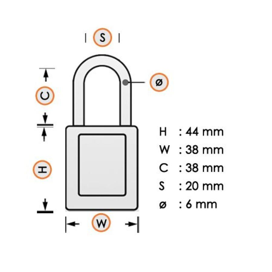 Zenex veiligheidshangslot geel 406YLW - 406KAYLW