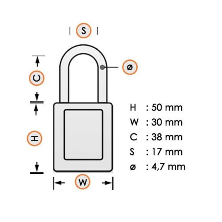 Nylon compact veiligheidshangslot blauw 814124