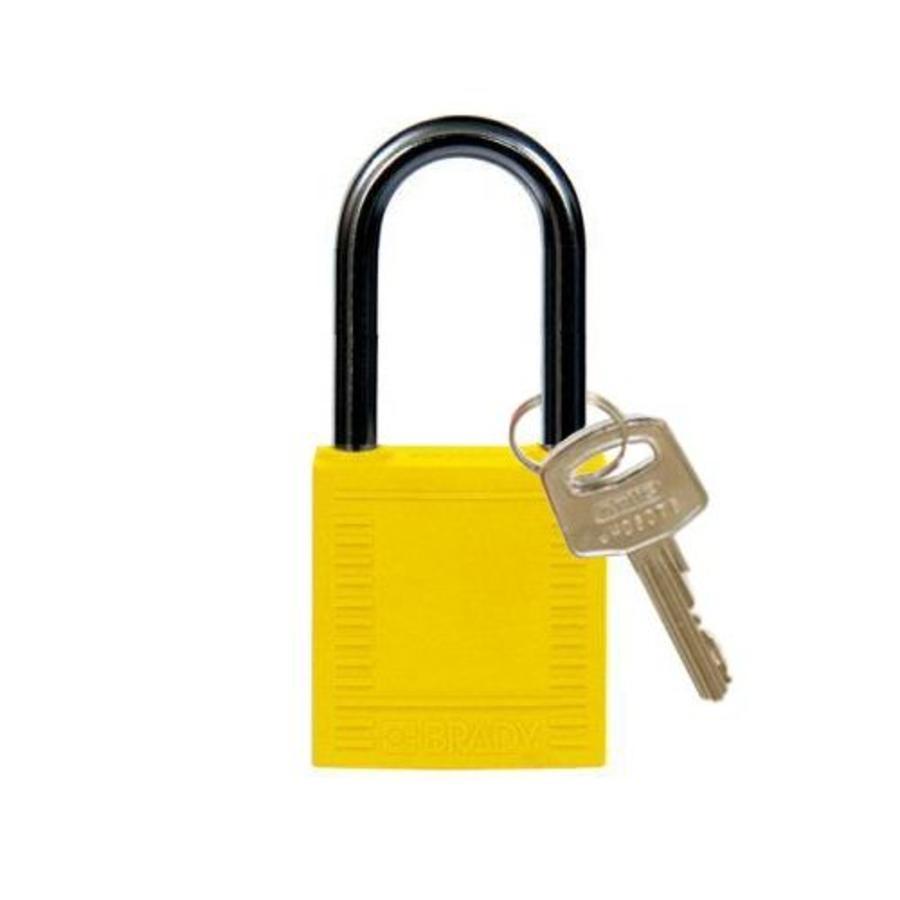 Nylon compact veiligheidshangslot geel 814127