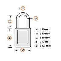 Nylon Kompakte Sicherheits-vorhängeschloss weiß 814132