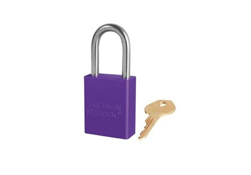 Anodized aluminium safety padlock purple S1106PRP