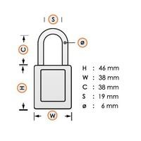 Sicherheitsvorhängeschloss aus eloxiertes Aluminium orange S1106ORJ - Copy