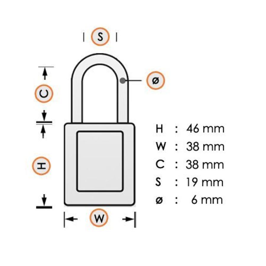 Geanodiseerd aluminium veiligheidshangslot oranje S1106ORJ