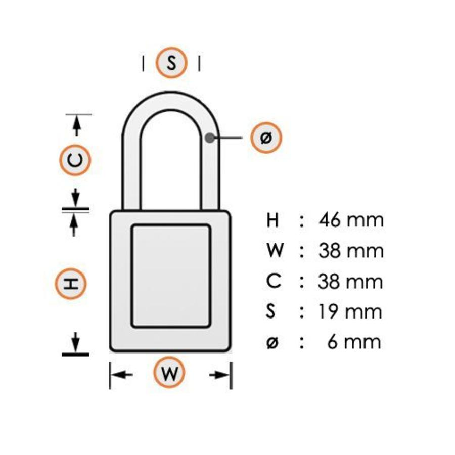 Geanodiseerd aluminium veiligheidshangslot groen S1106GRN