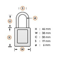 Anodized aluminium safety padlock yellow S1106YLW