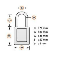 Zenex veiligheidshangslot paars 411PRP - 411KAPRP