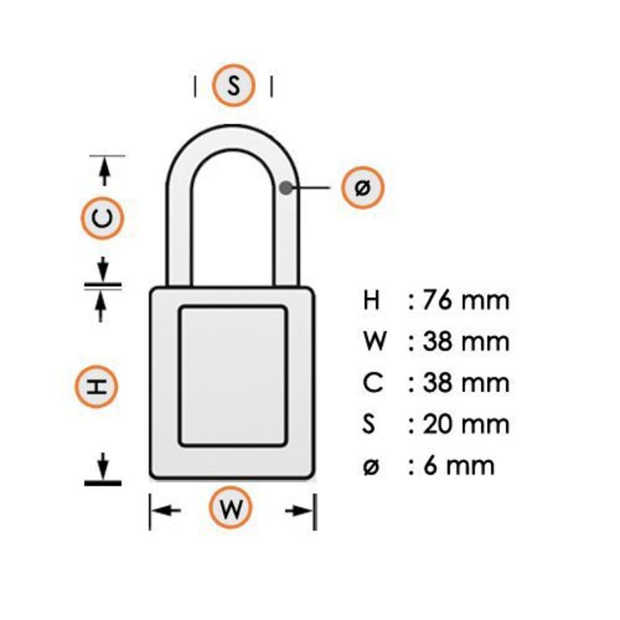 Zenex veiligheidshangslot zeegroen 411TEAL - 411KATEAL
