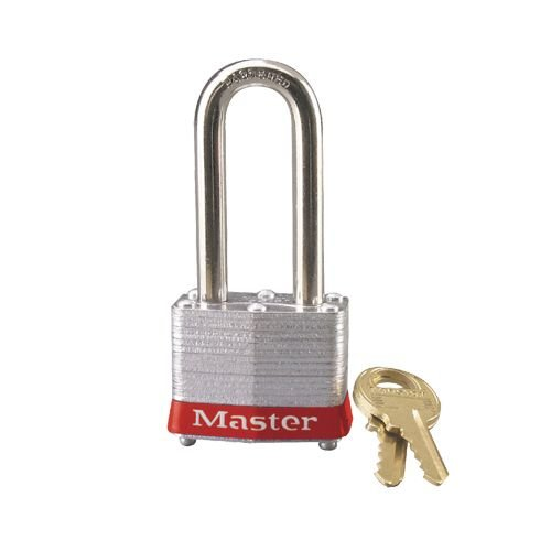 Laminated steel padlock red 3LHRED