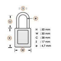 Nylon compact veiligheidshangslot wit 814142