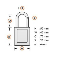 Aluminium safety padlock black S6835LTBLK