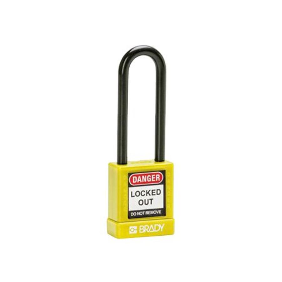 Aluminum safety padlock with plastic cover yellow 834477