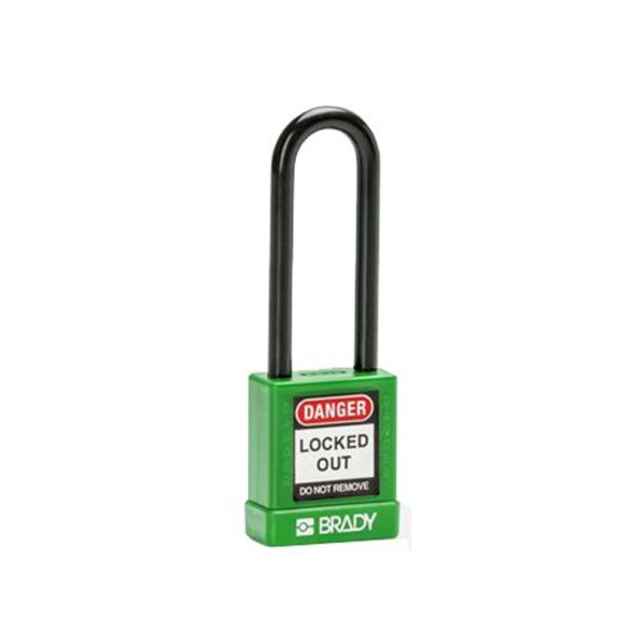Aluminium veiligheidshangslot met plastic cover groen 834478