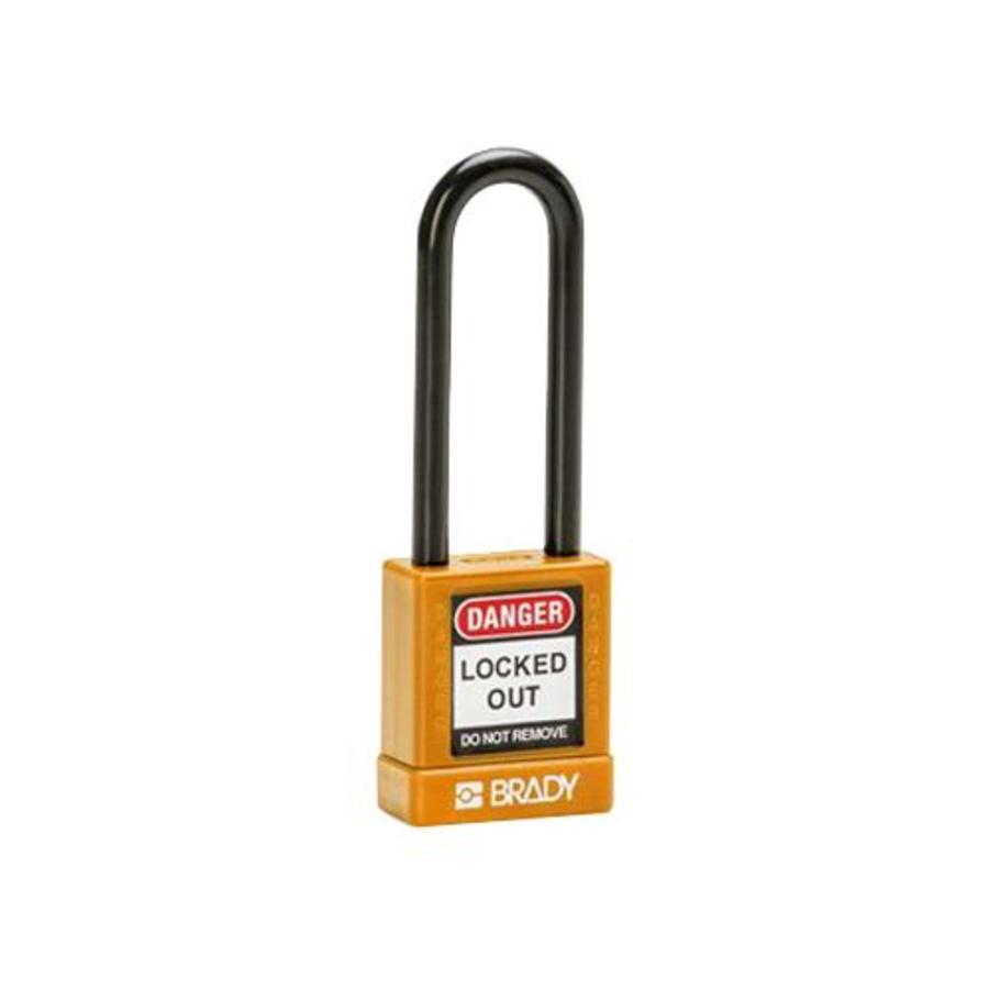Aluminium veiligheidshangslot met plastic cover oranje 834479