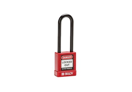 Aluminium veiligheidshangslot met kunststof cover rood 834476