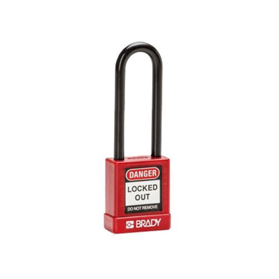 Aluminium veiligheidshangslot met plastic cover rood 834476