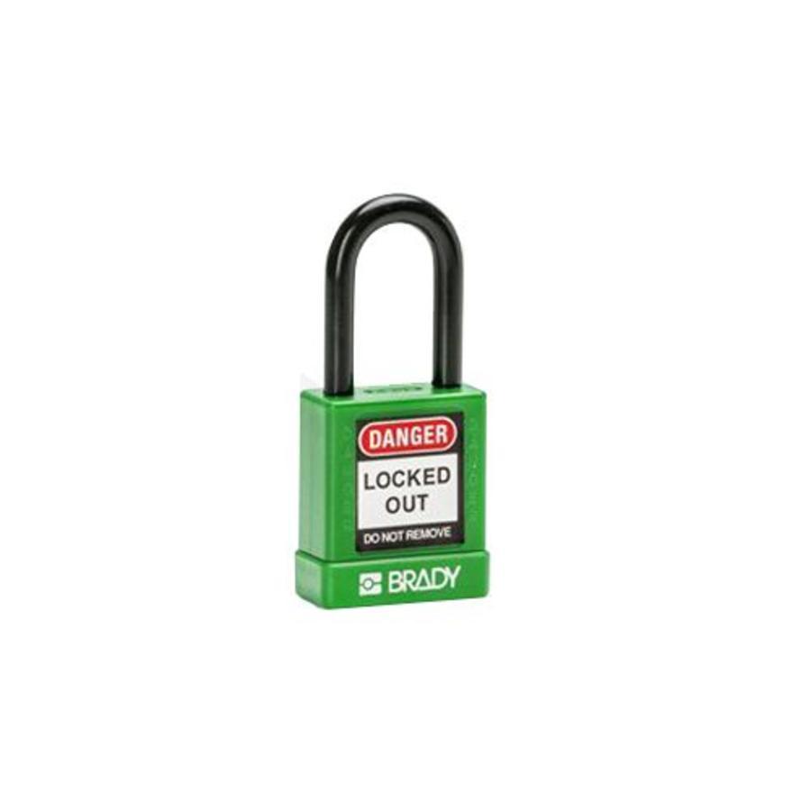 Aluminium veiligheidshangslot met plastic cover groen 834472