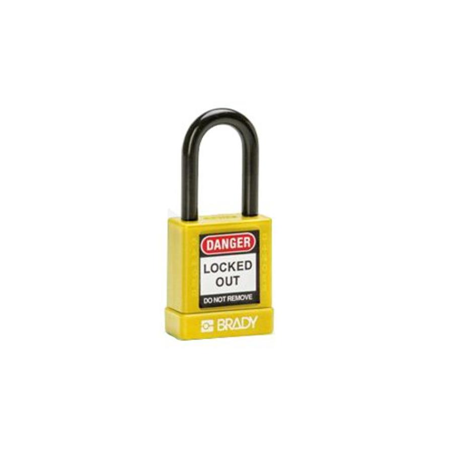 Aluminium veiligheidshangslot met kunststof cover geel 834471