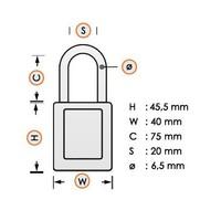 Aluminium veiligheidshangslot met plastic cover zwart 834475