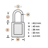 Aluminum safety padlock with composite cover yellow 834471