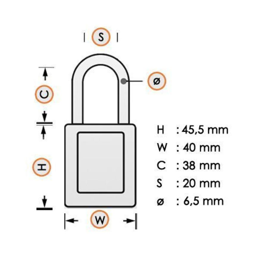 Aluminium veiligheidshangslot met plastic cover geel 834471