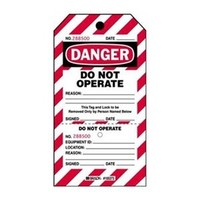 "Zweiteilige, perforierte Anhänger ''DO NOT OPERATE"" 105371"
