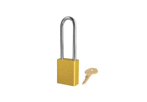 Anodized aluminium safety padlock yellow S1107YLW