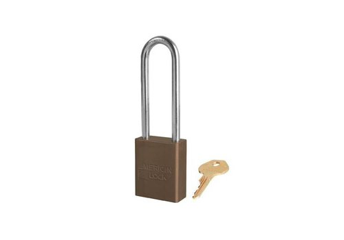 Anodized aluminium safety padlock brown S1107BRN