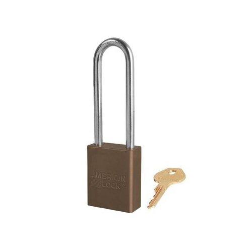 Anodized aluminium safety padlock brown S1107BRN