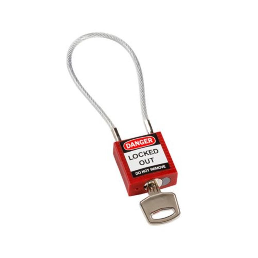 Nylon Sicherheits-vorhängeschloss rot mit Kabelbügel 146120