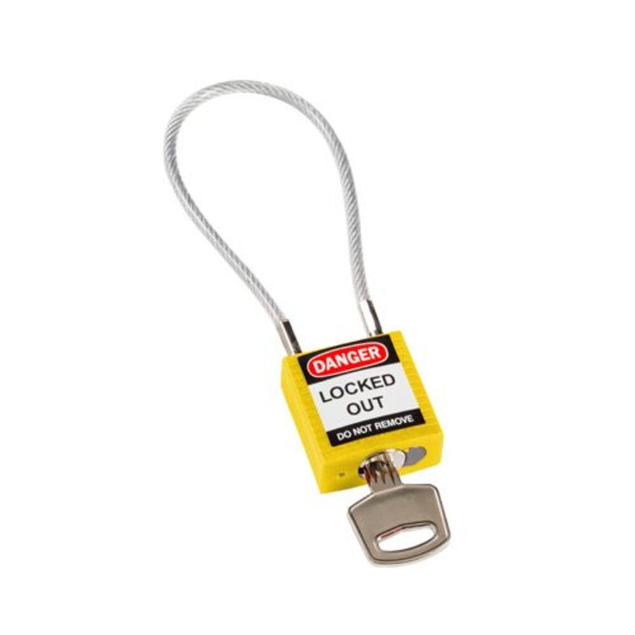 Nylon safety padlock yellow with cable 146121