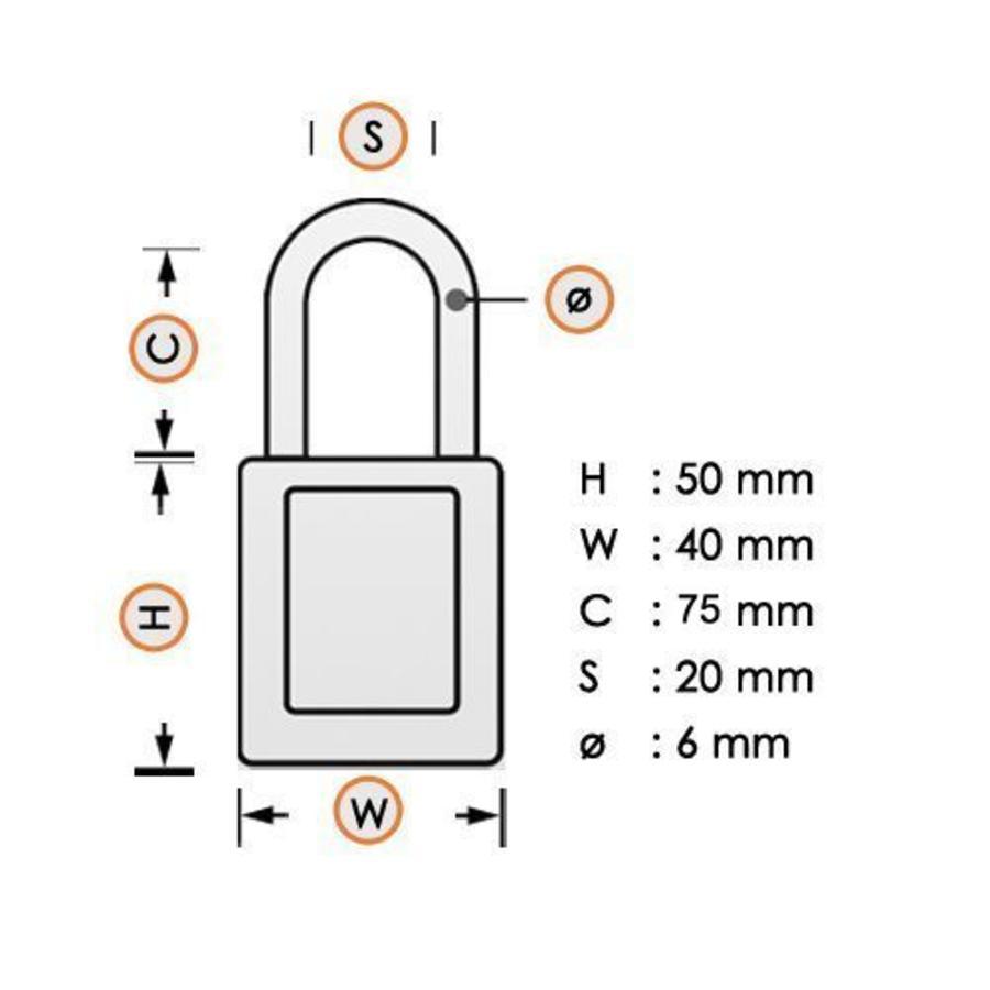 Aluminium veiligheidshangslot geel S6835LTYLW