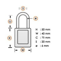Aluminium safety padlock red S6835LTRED