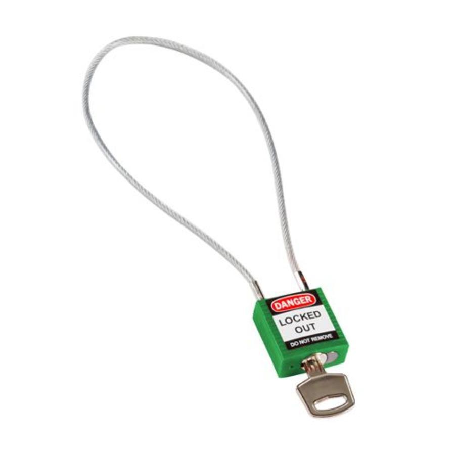 Nylon Sicherheits-vorhängeschloss grun mit Kabelbügel 146123
