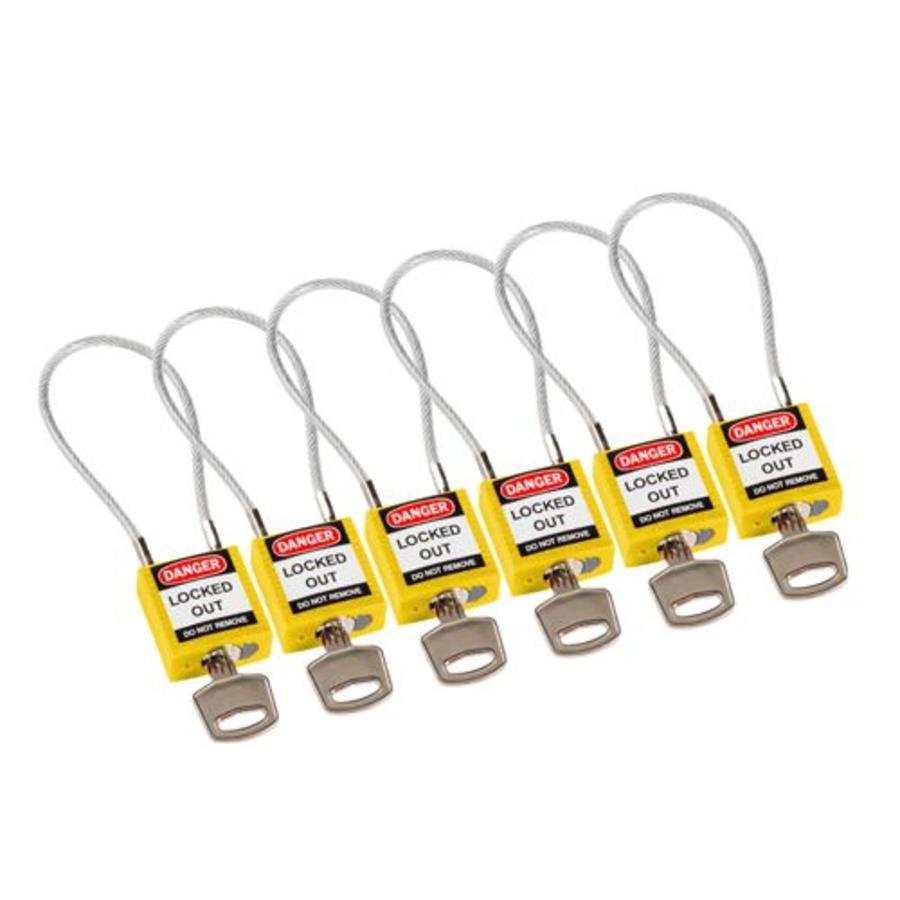 Brady Nylon Sicherheits-vorhängeschloss gelb mit Kabelbügel 146121 ...