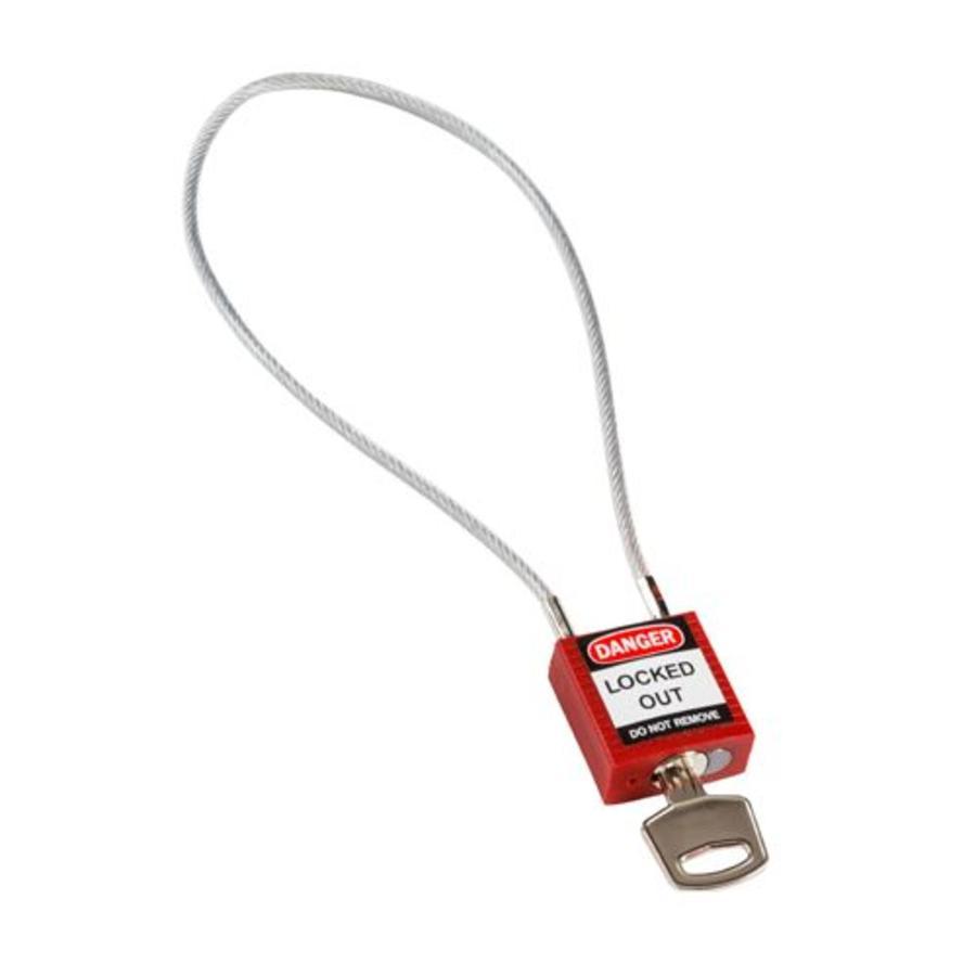 Nylon veiligheidshangslot met kabel rood 146120
