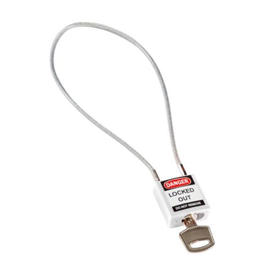 Nylon Sicherheits-vorhängeschloss weiß mit Kabelbügel 195939