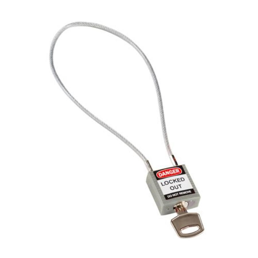 Nylon Sicherheits-vorhängeschloss grau mit Kabelbügel 195936