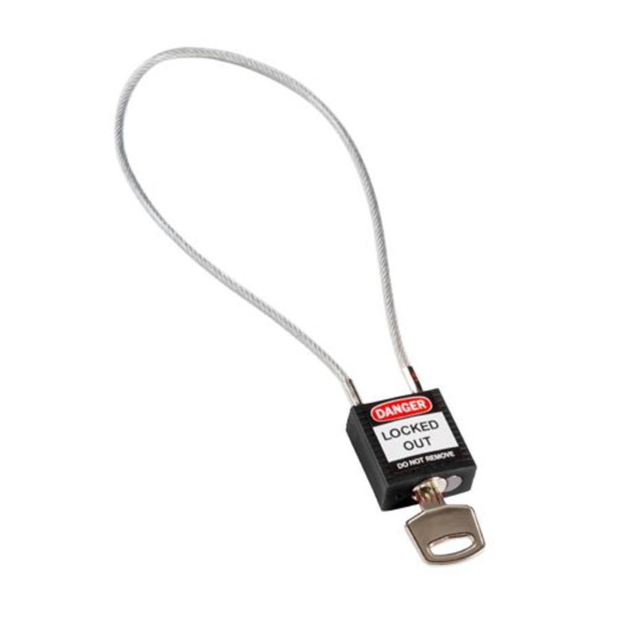 Nylon Sicherheits-vorhängeschloss schwarz mit Kabelbügel 195934