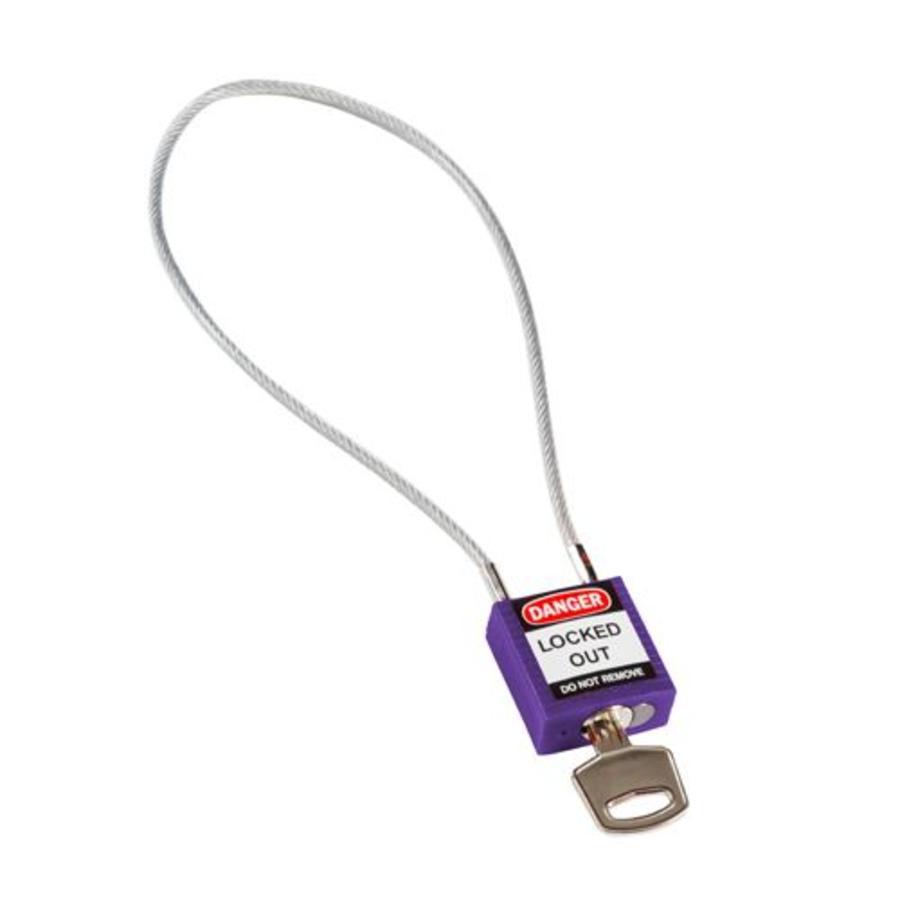 Nylon veiligheidshangslot met kabel paars 195938