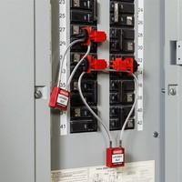 Nylon safety padlock orange with cable 195937