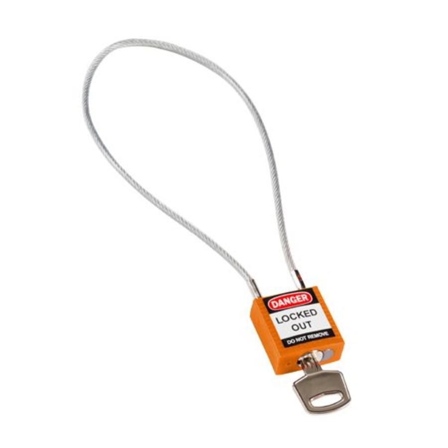 Nylon Sicherheits-vorhängeschloss orange mit Kabelbügel 195937