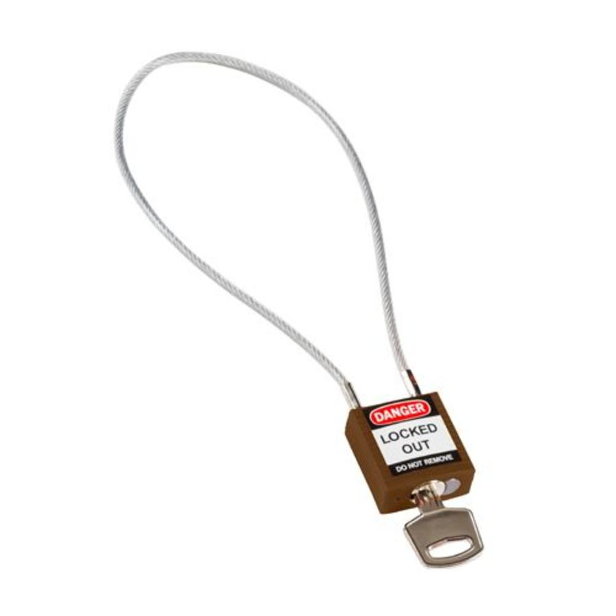 Nylon safety padlock brown with cable 195935