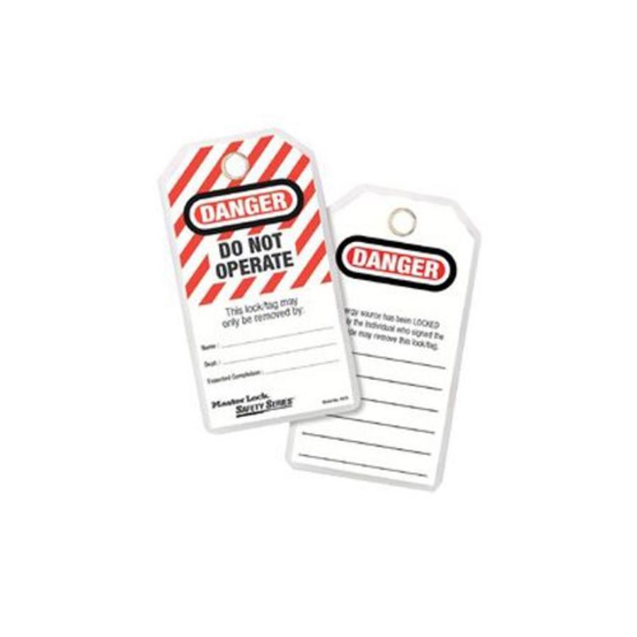 Gelamineerde lockout-tags (12 stuks) 497AD in Engels en blisterverpakking