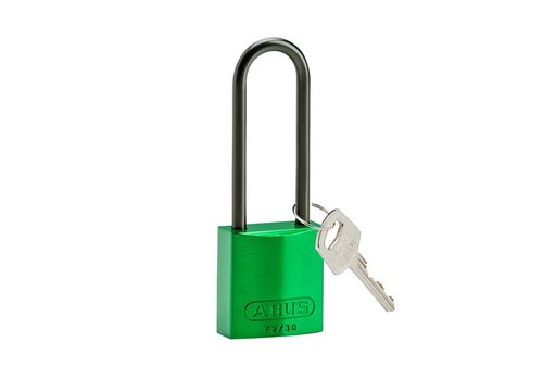 Anodized aluminium safety padlock green 834878