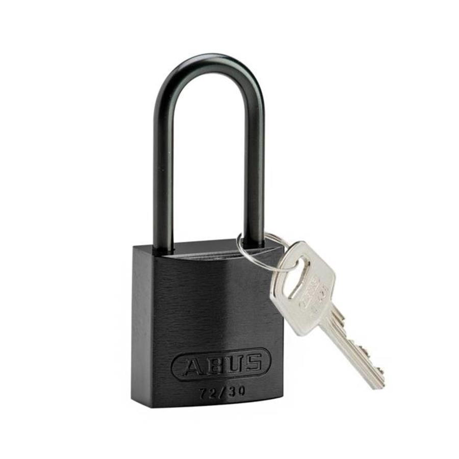 Anodized aluminium safety padlock black 834869