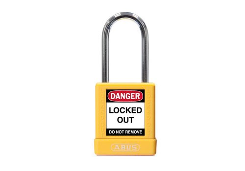 Aluminum safety padlock with yellow  cover 74BS/40 GELB