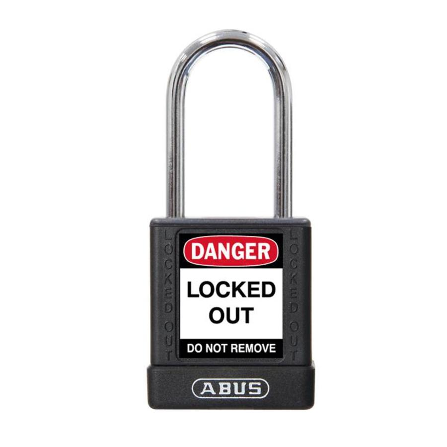 Aluminum safety padlock with black cover 74BS/40 SCHWARZ