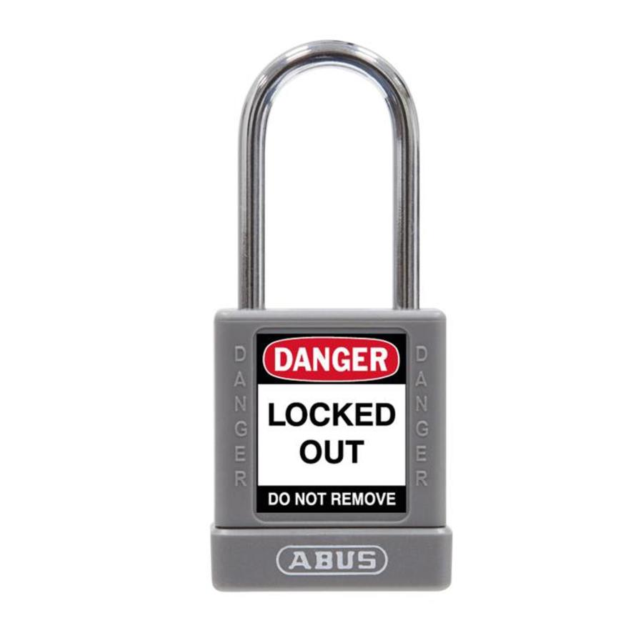 Aluminum safety padlock with grey cover 74BS/40 GRAU