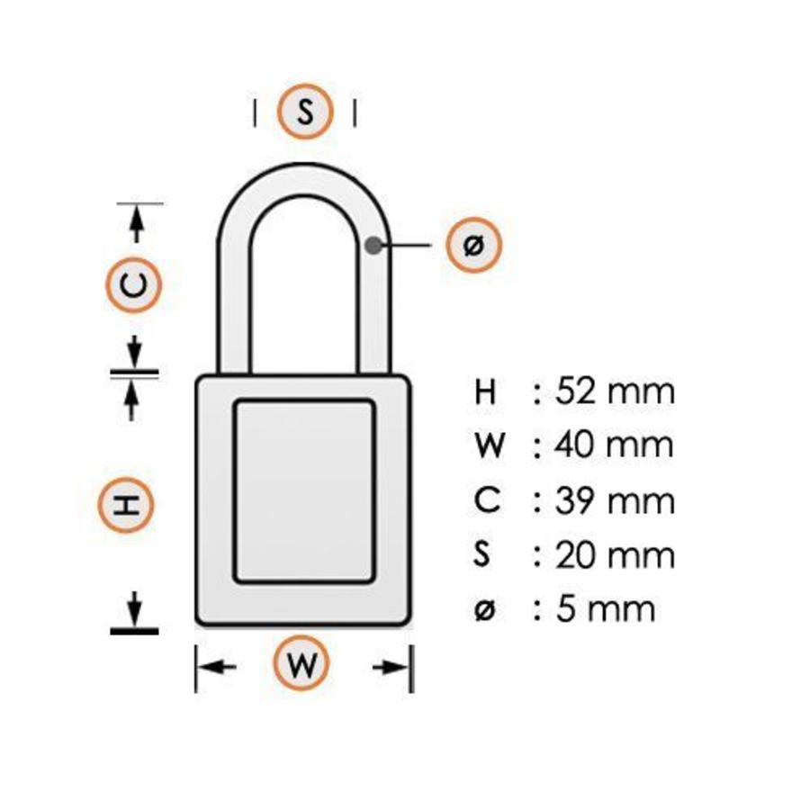 Aluminium veiligheidshangslot met oranje cover 74BS/40 ORANGE