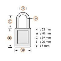 Aluminium veiligheidshangslot met paarse cover 74BS/40 LILA